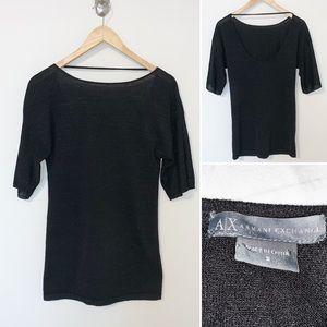 Armani Exchange Scoop/Low Back Blk Sweater